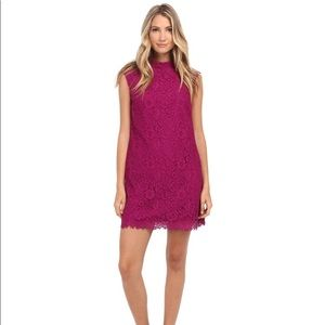 Donna Morgan Mock Neck Lace Shift Dress